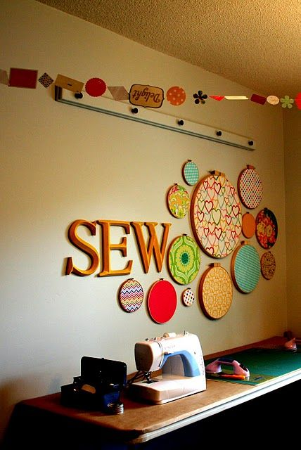 Inspiring wall and ceiling art for a sewing room.
