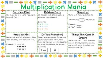 Multiplication Choice Board for learning multiplication facts!