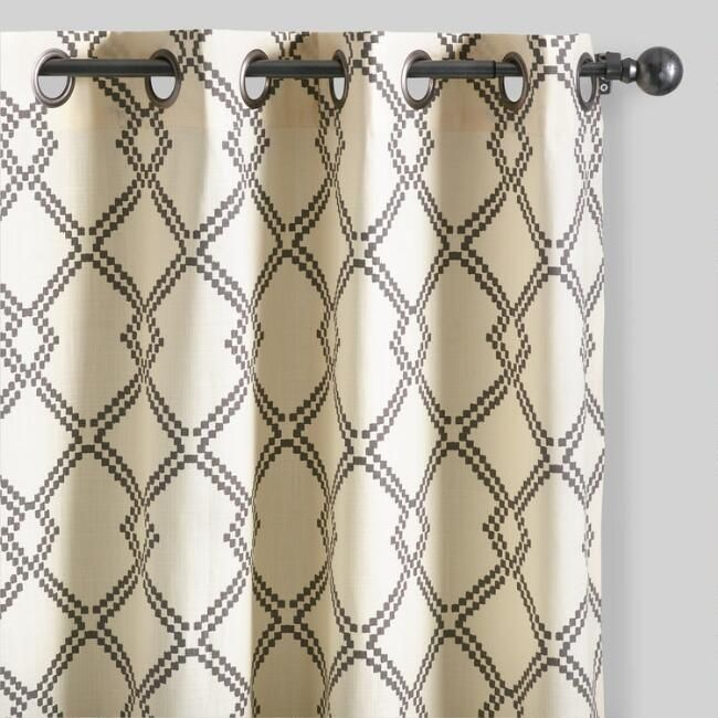 Charcoal Gray Lattice Cotton Curtains Set of 2 - v1