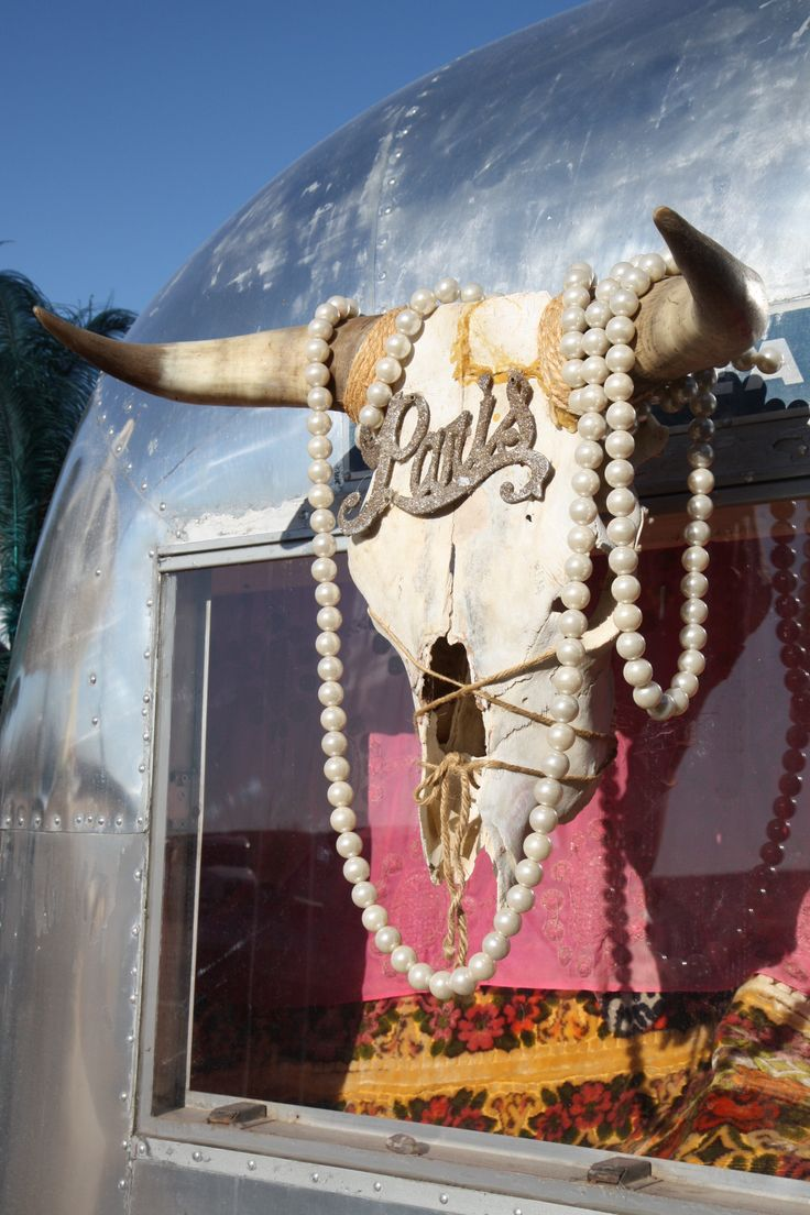 pearls + skull = perfect Cowgirl vintage trailer
