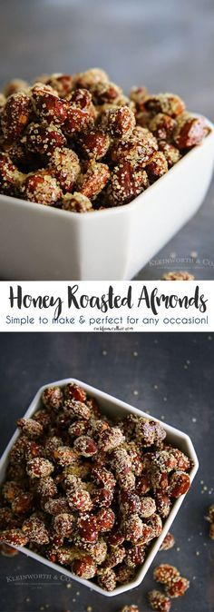 Honey Roasted Almonds, easy to make & perfect for any occasion. You won't believe just how quickly they disappear! Perfect party snack!  AD