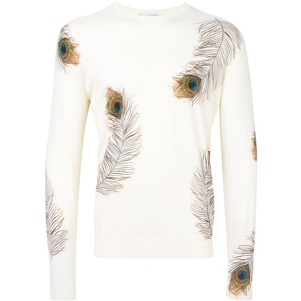 Alexander McQueen peacock feather print jumper ($945) ❤ liked on Polyvore featuring men's fashion, men's clothing, men's sweaters, white, mens crew neck sweaters, mens white sweater and men's crewneck sweaters
