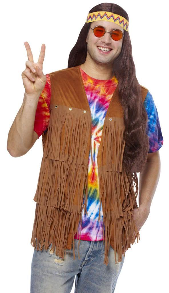 1960s 60s adult mens male peace retro hippie fringe