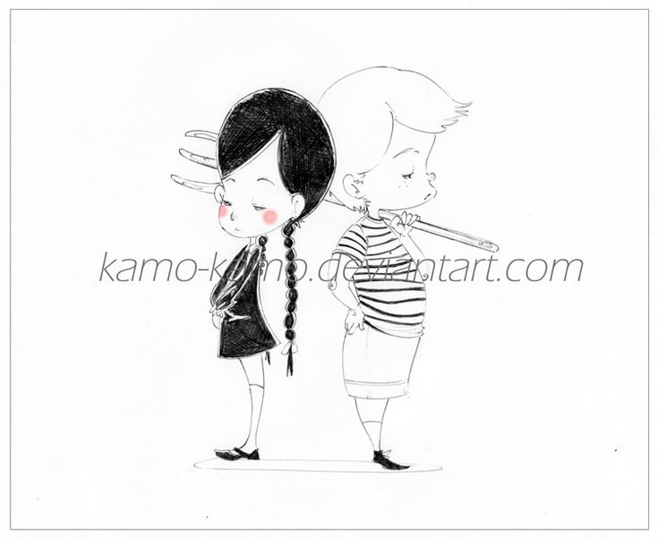 Illustration done in pencil of Wednesday and Pugsley Addams. I love Wednesday, gorgeous the interpretation of the character played by Christina Ricci. She's my favourite!