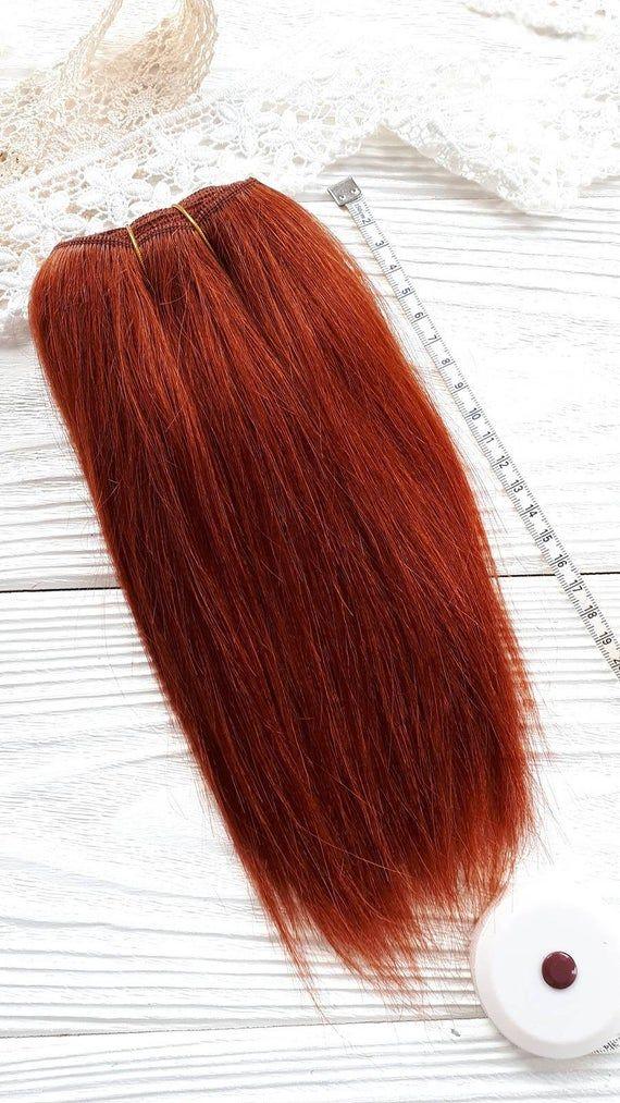 mohair weft straight Copper Red, doll hair, Blythe hair, waldorf doll hair, dollmaking