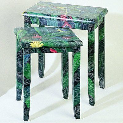 """Wayborn Furniture 3055 Nesting Table by Wayborn Furniture. $159.00. CRACKLE FINISH; Size: 24""""H x 21""""W x 15""""D; Color: Multi; BRUSH STROKES. Nesting tables- Set of two. Save 55% Off!"""