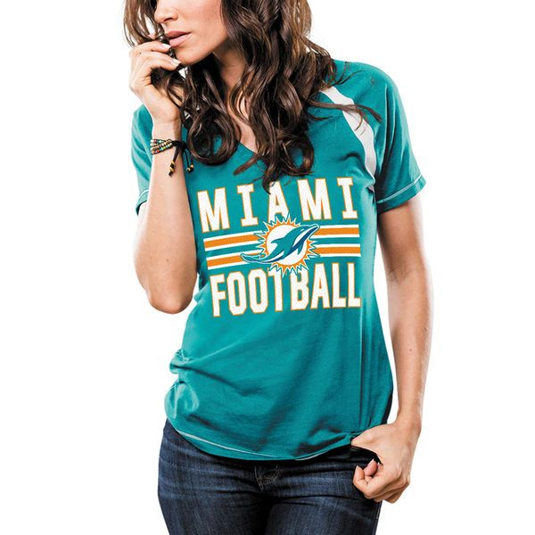 Women's Majestic Aqua Miami Dolphins Game Day V-Neck T-Shirt