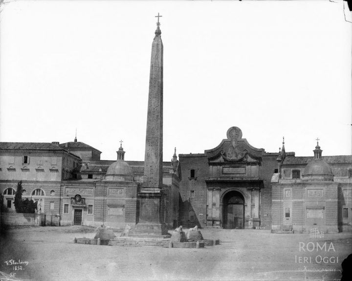 Piazza del Popolo (Flacheron, 1852)