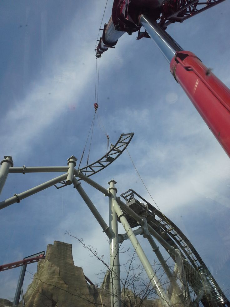 The crane operator uses precision as we are installing the track on the #WMG lift hill.