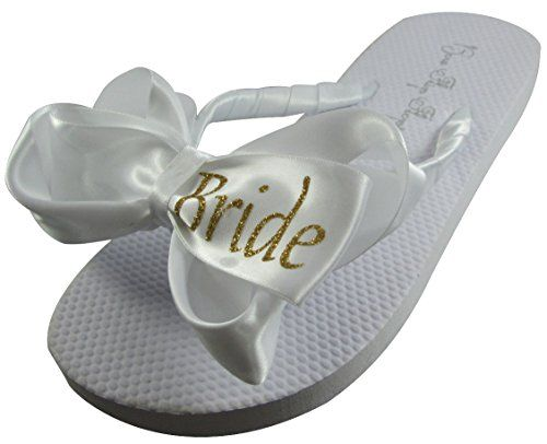 Bride Glitter Bling Bow Flip Flops for the Wedding  3 colors all sizes * Be sure to check out this awesome product.