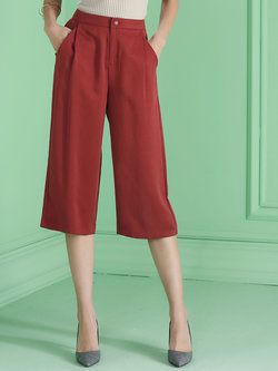 Red Plain Cotton Pockets Work Cropped Pant