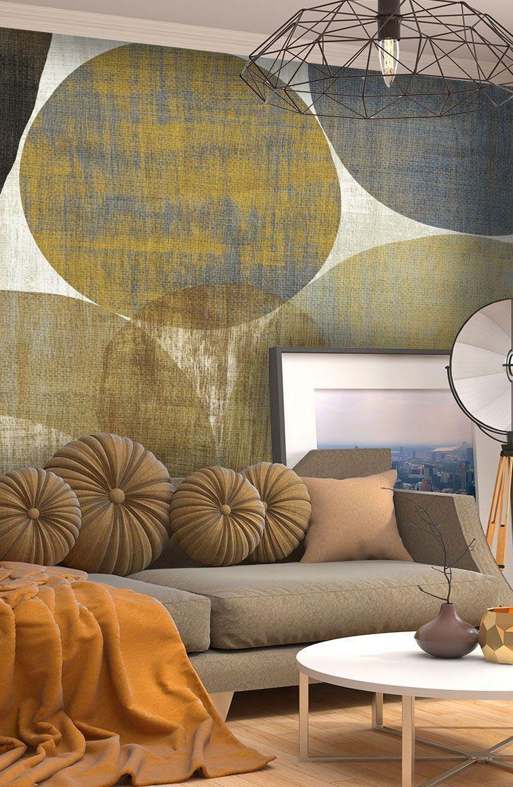 Circulation Ii Wall Mural Wallsauce Us Feature Wall Living Room Accent Walls In Living Room Wallpaper Living Room