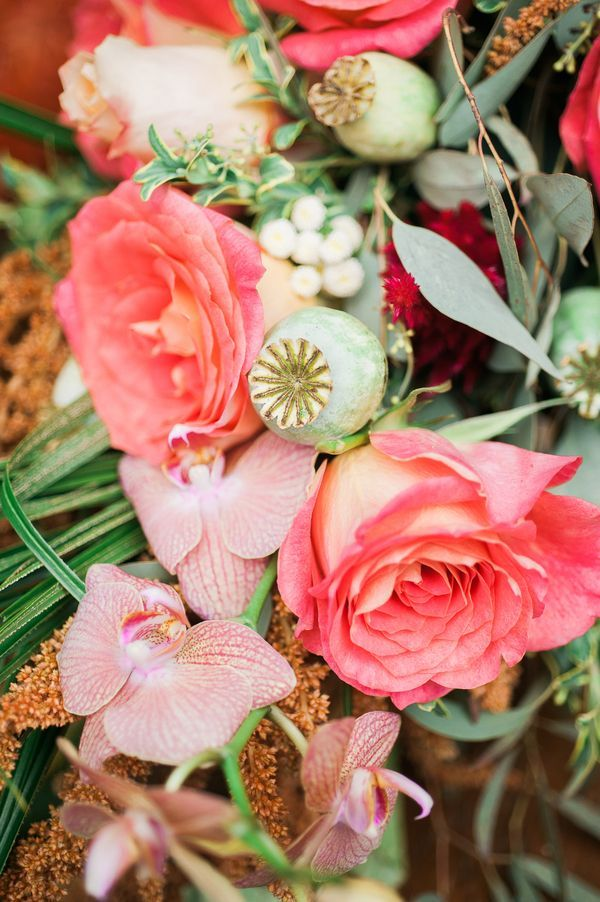 Coral tropical flower centerpiece