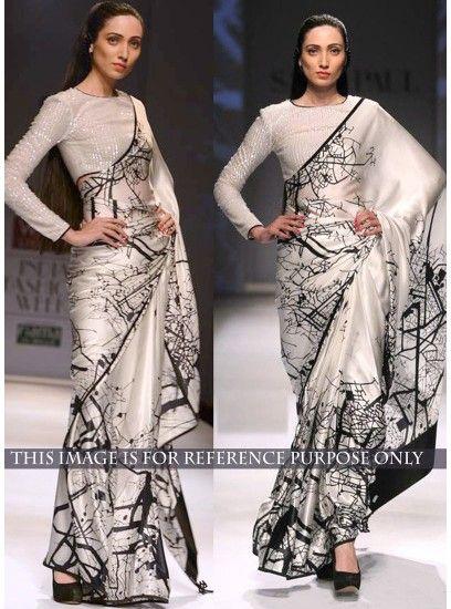 Off White Bollywood Style Designer Plain Saree-KT-3019