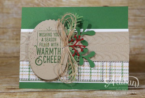 Create warmth and cheer with the Warmth & Cheer stamp set from Stampin' Up!  See tips and tricks o creating this card.  www.stampinbythesea.com