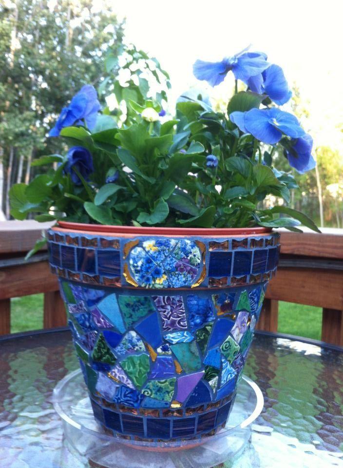 Blue Pansies with Arctic Mermaid Mosaic Pot