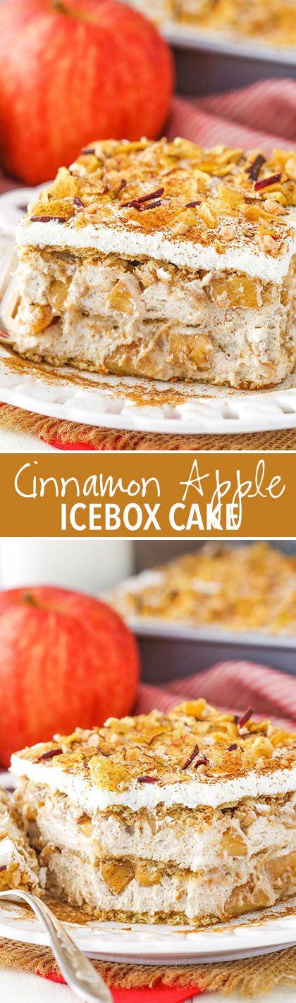 Cinnamon Apple Icebox Cake - layers of cinnamon apples, brown sugar mousse and graham crackers!