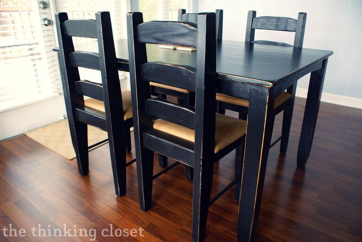 Black Distressed Table Makeover - The Thinking Closet; for my kitchen table