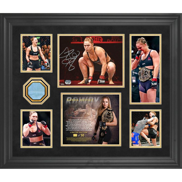 Ronda Rousey Ultimate Fighting Championship Fanatics Authentic Framed Autographed 5-Photo Collage With A Piece of Canvas from UFC 190 - #2-50 of a Limited Edition of 50 - $239.99