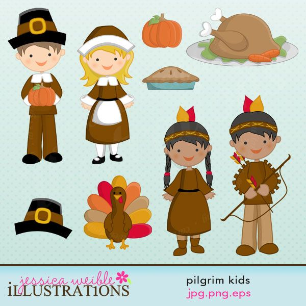 Pilgrim Kids cute set comes with 9 cute graphics including: 1 pilgrim boy, 1 pilgrim girl, 1 Indian boy, 1 Indian girl, a Turkey dinner, a fall pumpkin, a Gobble Turkey, a Pilgrim hat and a pie.    Graphics are made in High Quality 300 dpi and come in JPG, PNG & EPS format.