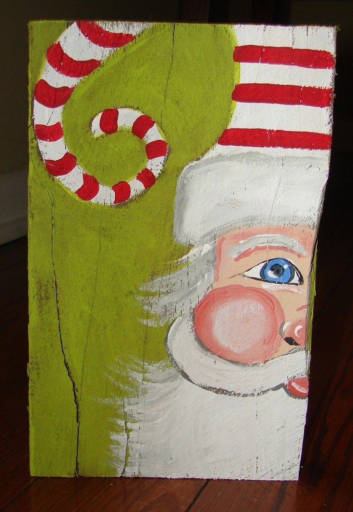 Red White and Green Santa Face on salvaged rough wood Unique Merry Christmas. $28.00, via Etsy.