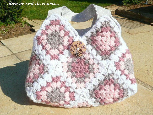 Granny bag!~ inspiration. Also beautiful cross-stitch at this site.