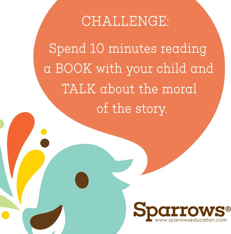 #ParentsChallenge Spend 10 minutes #reading a #book with your child and #talk about the moral of the story. #Research the author and the country the book was written in.  Find out more about Sparrows Education's Books and Brain training games at  www.sparrowseducation.co.uk