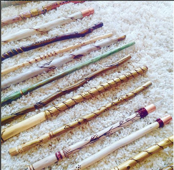 Wood and Crystal Wands, Wiccan Wands, Crystal Gift Ideas, Hand-Carved Wooden Wands, Tools for White Witches, White Magic, #DesignTheLight.com