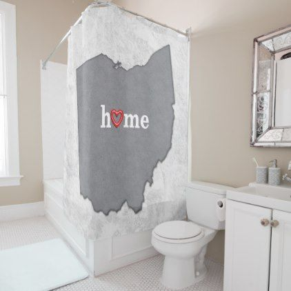 #Map of OHIO with HOME and HEART Shower Curtain - #Bathroom #Accessories #home #living