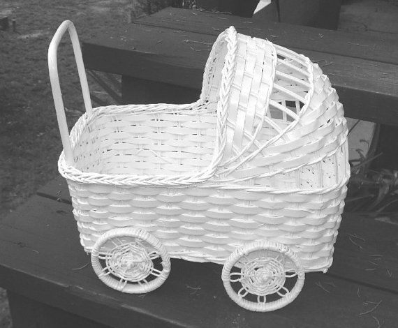 Vintage Wicker Baby Carriage Great For Baby Shower