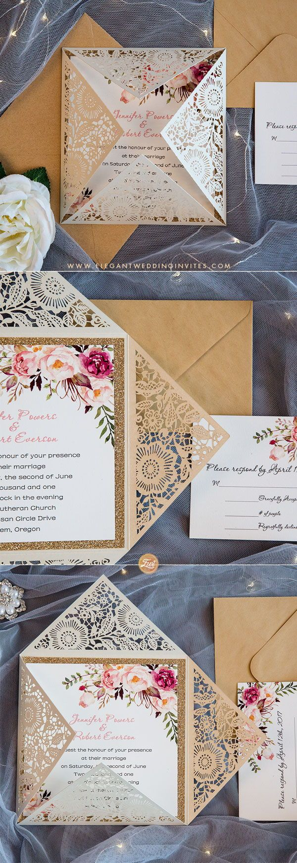 diy wedding invitations for second marriage%0A bohemian rustic spring flower glittery rose gold laser cut invitations  EWWS