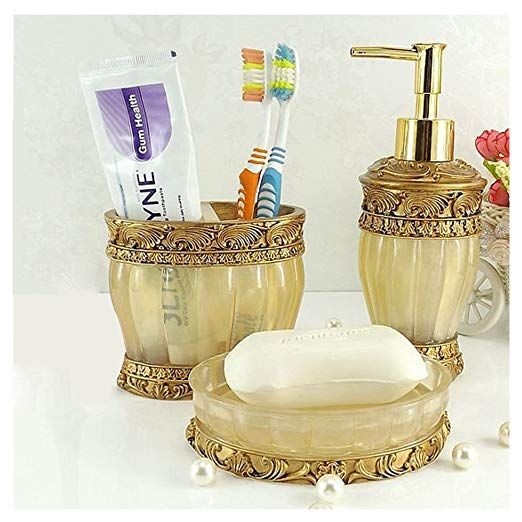 Amazon Com Vintage Golden Bathroom Accessories 5piece Bathroom