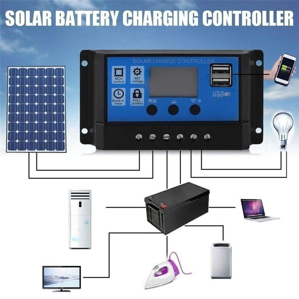 2020 New 12v 24v 5a 10a 40a 50a 100a Mppt Lcd Auto Work Solar Charge Controller Cell Panel Charger Pwm Dual Usb Output Charger Solar Panel Regulator Wish In 2020 Solar Panel Battery Solar Battery