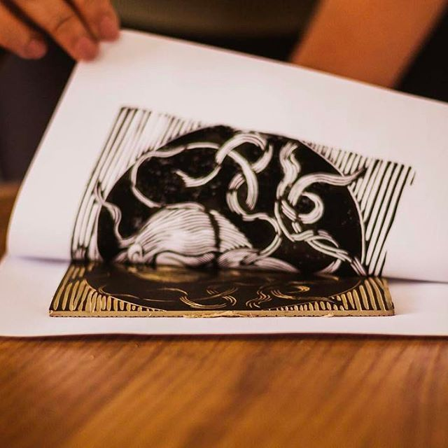 Hand printed #linocut by @lisedmarquez_arts