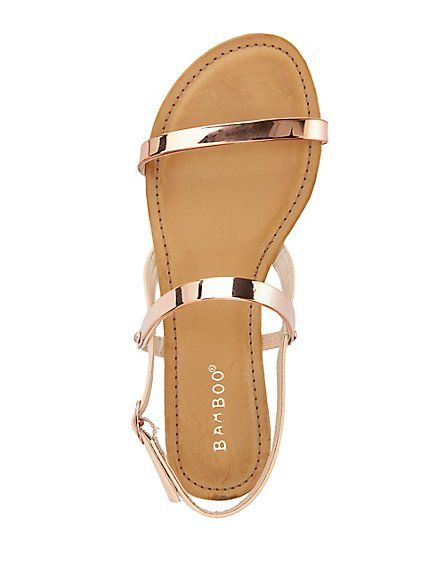 Bamboo Metal-Plated Flat Sandals: Charlotte Russe