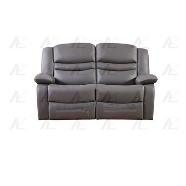 Pillow-Top Armrests Dark Gray Faux Leather Recliner Loveseat