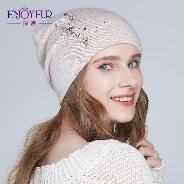093478d3d97 ENJOYFUR Women winter hats Knitted angora wool hat Rhinestones beanies for  lady  Discounts  BestPrice