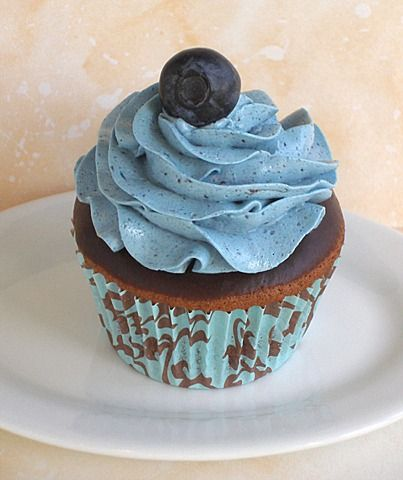 Chocolate blueberry frosted cupcakes :) (For Blueberry SMBC add 1/4 cup good quality blueberry preserves to vanilla SMBC base)