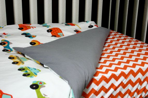 Crib or Toddler Bed Duvet Cover... Car fabric is so cute!...sheet
