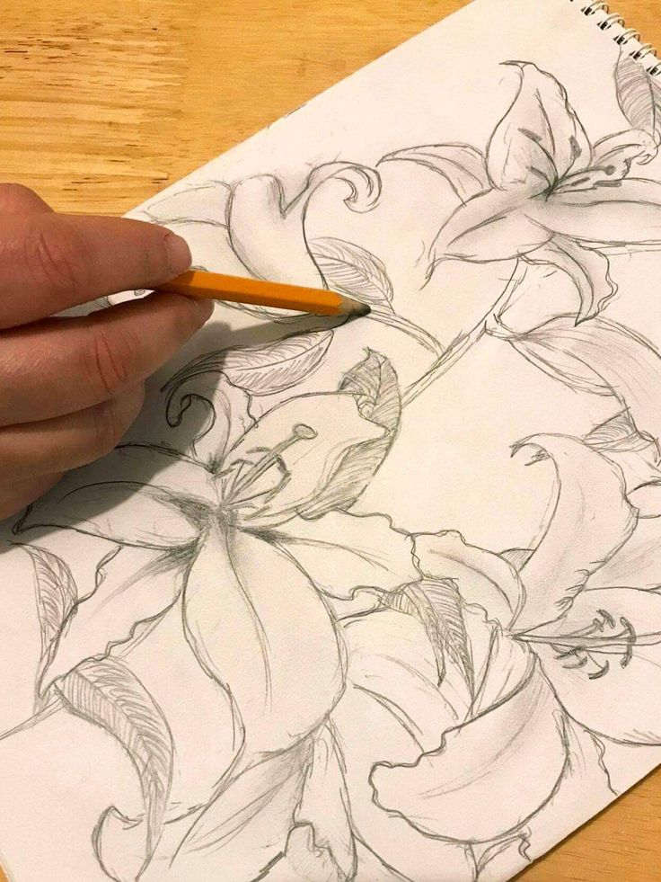 Some floral drawing pattern ideas for silk scarves