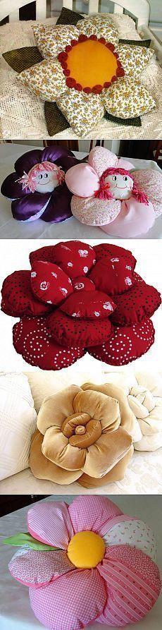 Almofadas flor de tecido. #