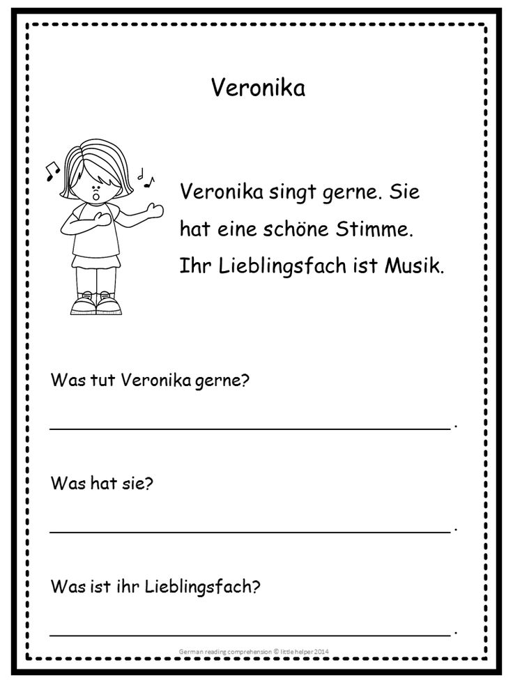 Free German Reading Comprehension