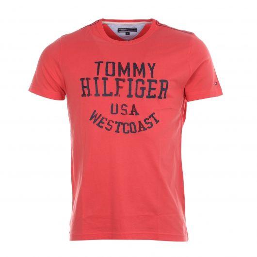 Tee-shirt col rond Tommy Hilfiger rose floqué en bleu marine