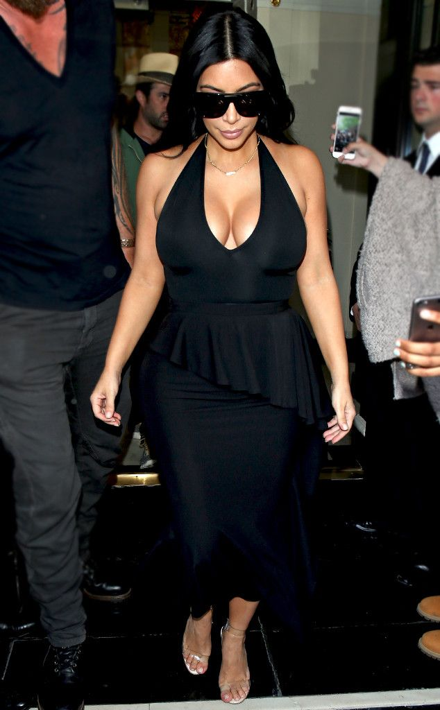 Va-Va Voom! from Kim Kardashian's Pregnancy Style  The mom-to-be flaunts her figure in a cleavage-baring black halter dress.