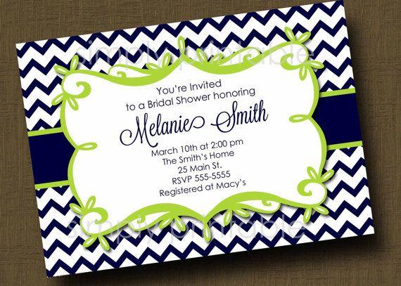 Navy/Lime Green Chevron Bridal Shower Invitation. $12.00, via Etsy.
