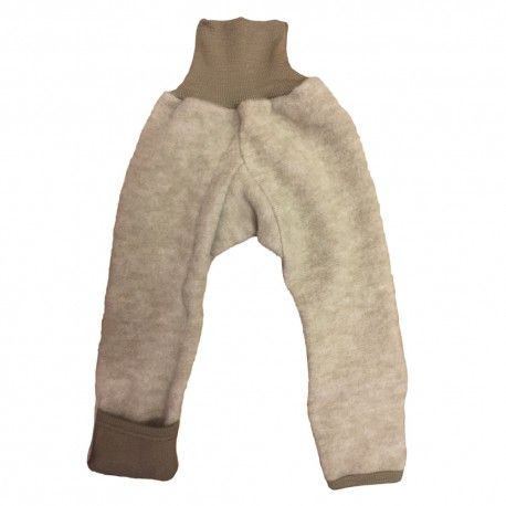 Wool fleece pants with feet, beige, Cosilana