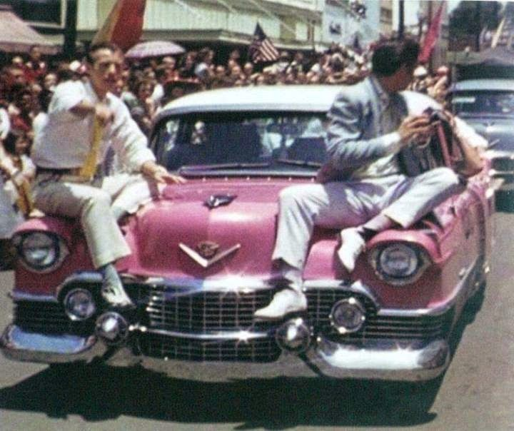 May 26, 1955 Elvis Presley with Jimmie Rodgers Snow in Meridian, Elvis' pink Cadillac Fleetwood - Mississippi
