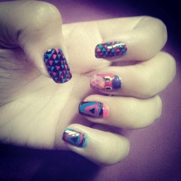 Owl themed nail art