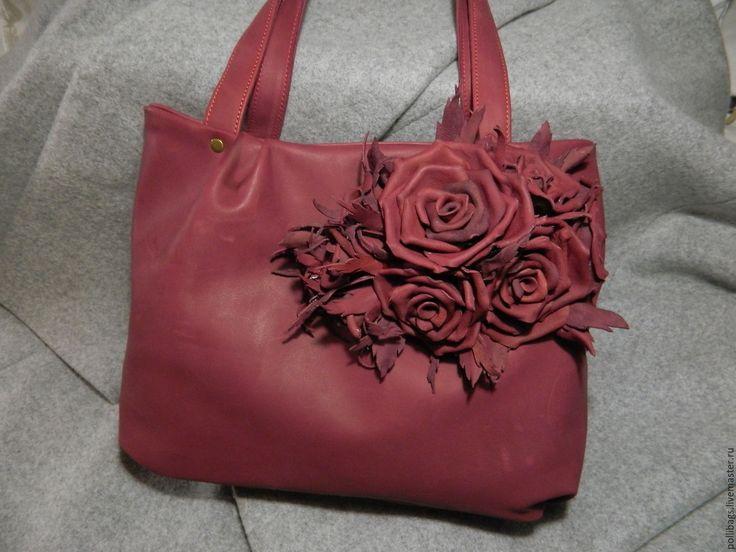 Купить Сумка кожаная женская Розы бордо. Класика - сумка ручной работы, сумка