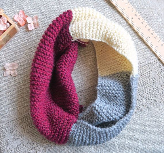 Cowl snood scarf - colour block snood, winter fashion - Free Worldwide Shipping